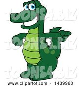Vector Illustration of a Cartoon Alligator Mascot Pointing by Toons4Biz