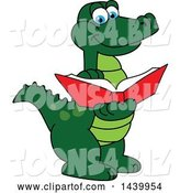 Vector Illustration of a Cartoon Alligator Mascot Reading a Book by Toons4Biz
