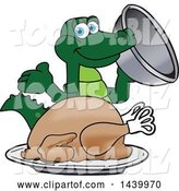 Vector Illustration of a Cartoon Alligator Mascot Serving a Thanksgiving Turkey by Toons4Biz