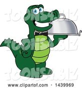 Vector Illustration of a Cartoon Alligator Mascot Waiter Holding a Cloche Platter by Toons4Biz