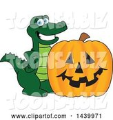 Vector Illustration of a Cartoon Alligator Mascot with a Halloween Jackolantern Pumpkin by Toons4Biz