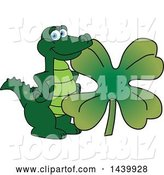 Vector Illustration of a Cartoon Alligator Mascot with a St Patricks Day Clover by Toons4Biz