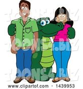 Vector Illustration of a Cartoon Alligator Mascot with Happy Parents or Teachers by Toons4Biz