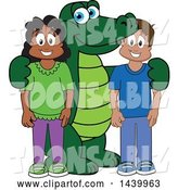 Vector Illustration of a Cartoon Alligator Mascot with Happy Students by Toons4Biz