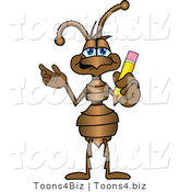 Vector Illustration of a Cartoon Ant Mascot Holding a Pencil by Toons4Biz