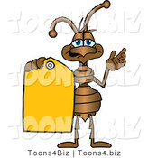 Vector Illustration of a Cartoon Ant Mascot Holding out a Yellow Sales Price Tag by Toons4Biz