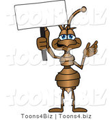 Vector Illustration of a Cartoon Ant Mascot Holding up a Blank White Advertising Sign by Toons4Biz