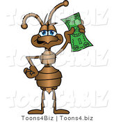 Vector Illustration of a Cartoon Ant Mascot Holding up a Green Banknote by Toons4Biz