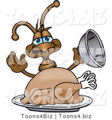 Vector Illustration of a Cartoon Ant Mascot Serving a Thanksgiving Turkey on a Platter by Toons4Biz