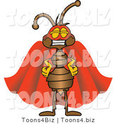 Vector Illustration of a Cartoon Ant Mascot Wearing a Mask and Red Super Hero Cape by Toons4Biz