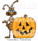 Vector Illustration of a Cartoon Ant Mascot with a Halloween Pumpkin by Toons4Biz