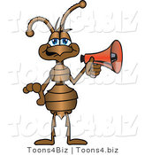 Vector Illustration of a Cartoon Ant Mascot with a Red Megaphone or Bullhorn by Toons4Biz