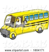 Vector Illustration of a Cartoon Bald Eagle Mascot Driving a School Bus by Toons4Biz