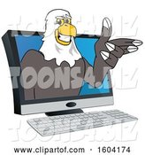 Vector Illustration of a Cartoon Bald Eagle Mascot Emerging from a Computer Screen by Toons4Biz