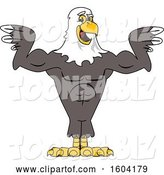 Vector Illustration of a Cartoon Bald Eagle Mascot Flexing His Muscles by Toons4Biz