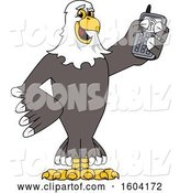 Vector Illustration of a Cartoon Bald Eagle Mascot Holding a Cell Phone by Toons4Biz
