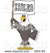 Vector Illustration of a Cartoon Bald Eagle Mascot Holding a Flag by Toons4Biz