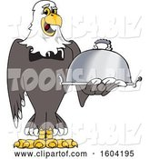 Vector Illustration of a Cartoon Bald Eagle Mascot Holding a Platter by Toons4Biz
