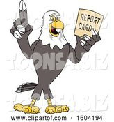 Vector Illustration of a Cartoon Bald Eagle Mascot Holding a Report Card by Toons4Biz