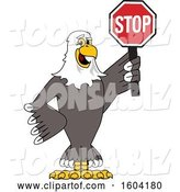 Vector Illustration of a Cartoon Bald Eagle Mascot Holding a Stop Sign by Toons4Biz