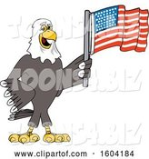 Vector Illustration of a Cartoon Bald Eagle Mascot Holding an American Flag by Toons4Biz