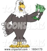 Vector Illustration of a Cartoon Bald Eagle Mascot Holding Cash Money by Toons4Biz