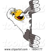 Vector Illustration of a Cartoon Bald Eagle Mascot Looking Around a Sign by Toons4Biz