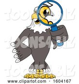Vector Illustration of a Cartoon Bald Eagle Mascot Looking Through a Magnifying Glass by Toons4Biz