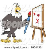 Vector Illustration of a Cartoon Bald Eagle Mascot Painting a Canvas by Toons4Biz
