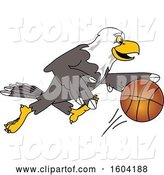 Vector Illustration of a Cartoon Bald Eagle Mascot Playing Basketball by Toons4Biz