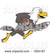 Vector Illustration of a Cartoon Bald Eagle Mascot Playing Football by Toons4Biz