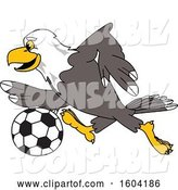Vector Illustration of a Cartoon Bald Eagle Mascot Playing Soccer by Toons4Biz
