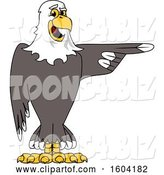 Vector Illustration of a Cartoon Bald Eagle Mascot Pointing by Toons4Biz