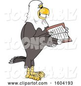 Vector Illustration of a Cartoon Bald Eagle Mascot Reading a Book by Toons4Biz