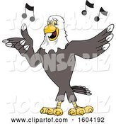 Vector Illustration of a Cartoon Bald Eagle Mascot Singing by Toons4Biz