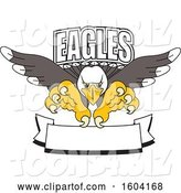 Vector Illustration of a Cartoon Bald Eagle Mascot Swooping over a Banner by Toons4Biz