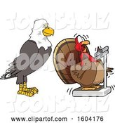 Vector Illustration of a Cartoon Bald Eagle Mascot Watching a Turkey Bird Weighing Itself by Toons4Biz