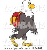 Vector Illustration of a Cartoon Bald Eagle Mascot Wearing a Backpack by Toons4Biz