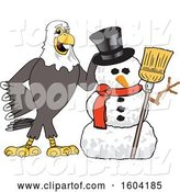 Vector Illustration of a Cartoon Bald Eagle Mascot with a Christmas Snowman by Toons4Biz
