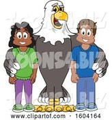 Vector Illustration of a Cartoon Bald Eagle Mascot with Students by Toons4Biz