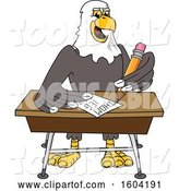 Vector Illustration of a Cartoon Bald Eagle Mascot Writing at a Desk by Toons4Biz