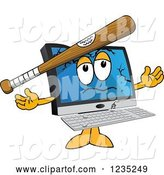 Vector Illustration of a Cartoon Baseball Bat Bashing a PC Computer Mascot by Toons4Biz