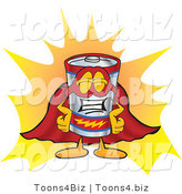 Vector Illustration of a Cartoon Battery Mascot Dressed As a Super Hero by Toons4Biz