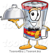 Vector Illustration of a Cartoon Battery Mascot Dressed As a Waiter and Holding a Serving Platter by Toons4Biz