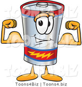 Vector Illustration of a Cartoon Battery Mascot Flexing His Arm Muscles by Toons4Biz