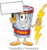 Vector Illustration of a Cartoon Battery Mascot Holding a Bolt of Energy and a Blank Sign by Toons4Biz
