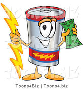 Vector Illustration of a Cartoon Battery Mascot Holding a Bolt of Energy and a Green Dollar Bill by Toons4Biz