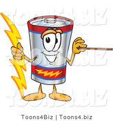 Vector Illustration of a Cartoon Battery Mascot Holding a Bolt of Energy and a Pointer Stick by Toons4Biz