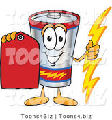 Vector Illustration of a Cartoon Battery Mascot Holding a Bolt of Energy and a Red Sales Price Tag by Toons4Biz