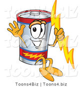 Vector Illustration of a Cartoon Battery Mascot Holding a Bolt of Energy and Jumping by Toons4Biz